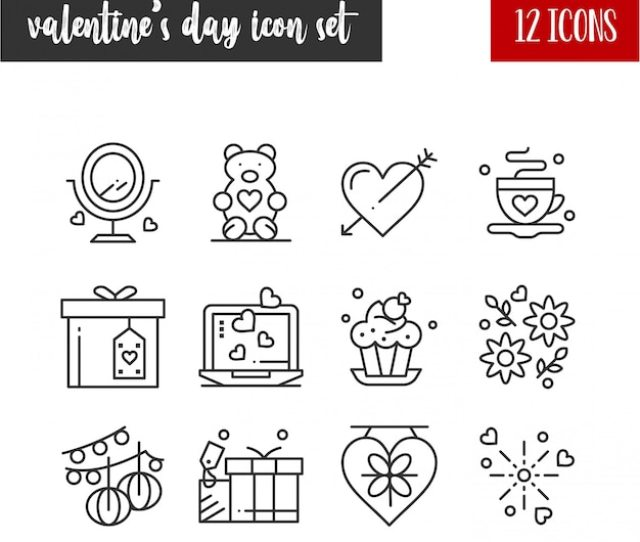 Happy Valentines Day Outline  Icon Set Free Vector