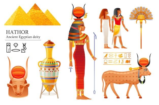 Premium Vector Hathor Egyptian Goddess Set Sky Deity With Sun Cow Horns Ancient Egyptian God