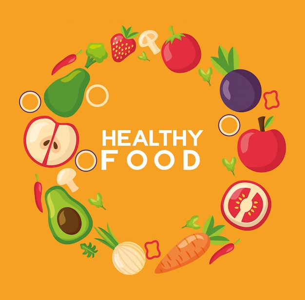Free Vector Healthy Food Fresh Frame