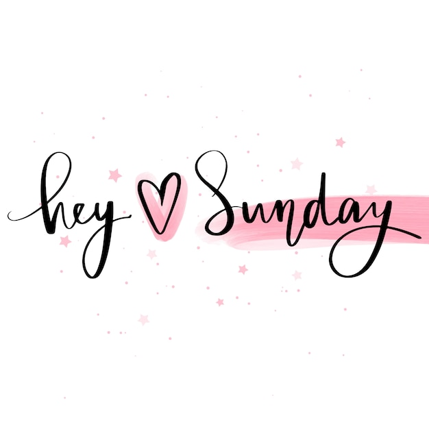Download Hey love sunday. vector hand drawn lettering phrase ...