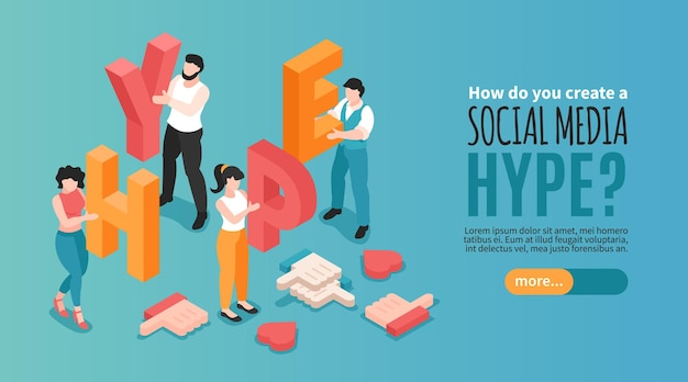 Horizontal social media hype banner with human characters holding letters and likes 3d isometric Free Vector