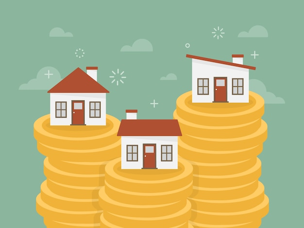 Houses over piles of coins Free Vector