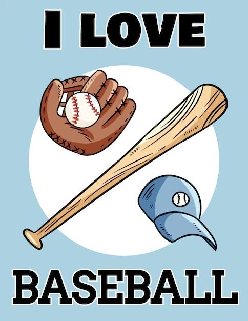 Download I love baseball cute postcard baseball bat, glove and ball ...