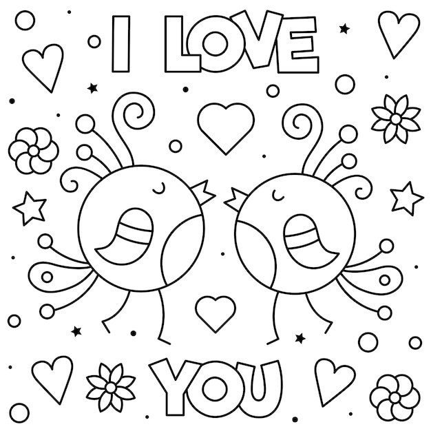 Download I love you. coloring page. black and white vector ...