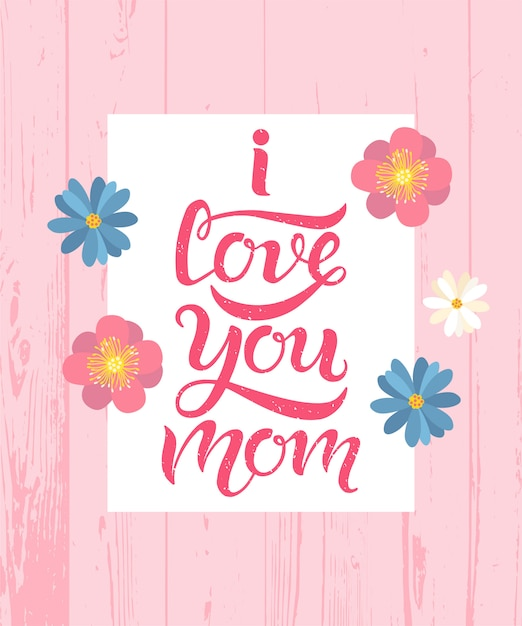 Download I love you mom calligraphy lettering text | Premium Vector
