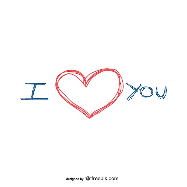Download I love you scribble   Free Vector