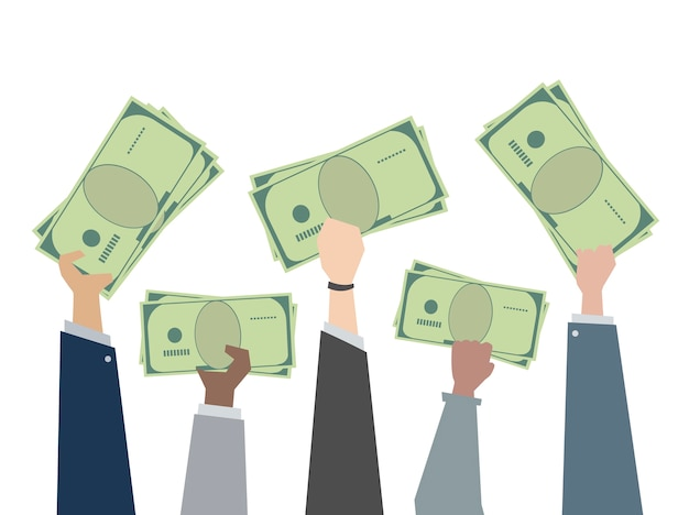 Illustration of hands holding paper money -  الفرق بين أجور طب وصيدلة