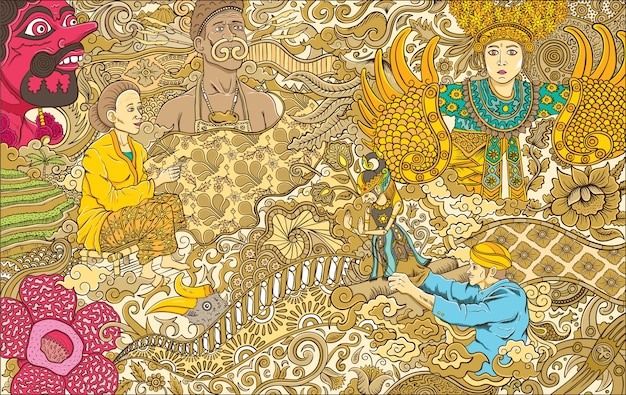 Premium Vector Indonesia Culture Illustration