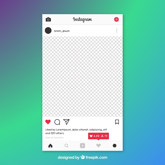 Instagram Post Template With Notifications Vector Free