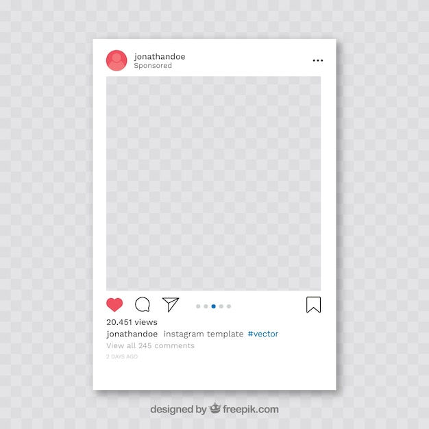 Instagram Post With Transparent Background Vector Free