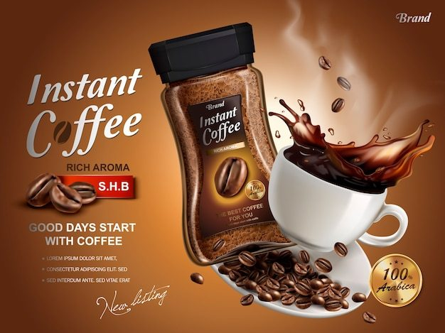 Instant coffee ad, with coffee splash elements, brown background Premium Vector