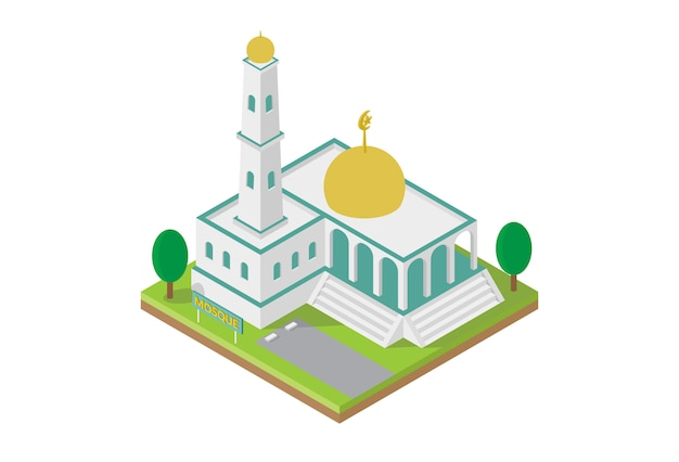 Isometric mosque building for map vector Premium Vector