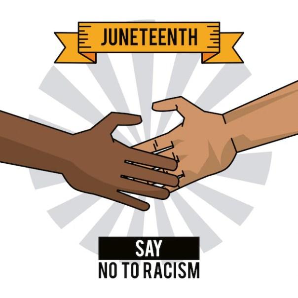 Juneteenth day hands say no to racism   Premium Vector
