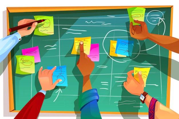 Kanban board illustration for agile scrum management and teamwork process methodology.