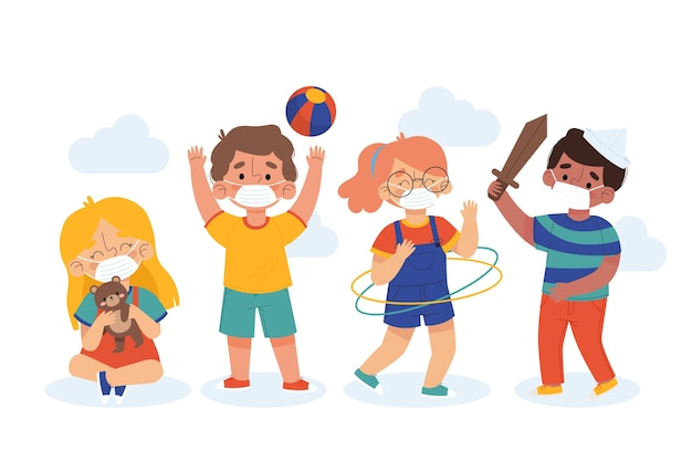 Free Vector Kids Playing And Wearing Masks