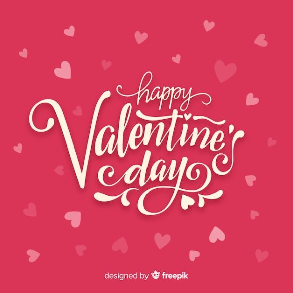 Happy Valentines Day Pretty Lettering Free Vector