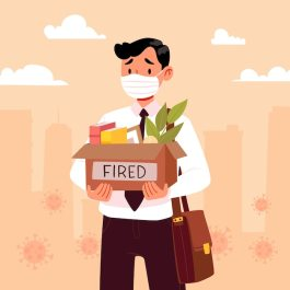 Loss job due to coronavirus crisis with fired man Free Vector People vector created by freepik