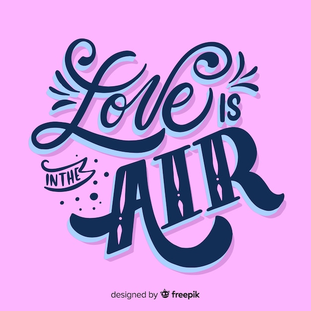 Download Love is in the air lettering   Free Vector