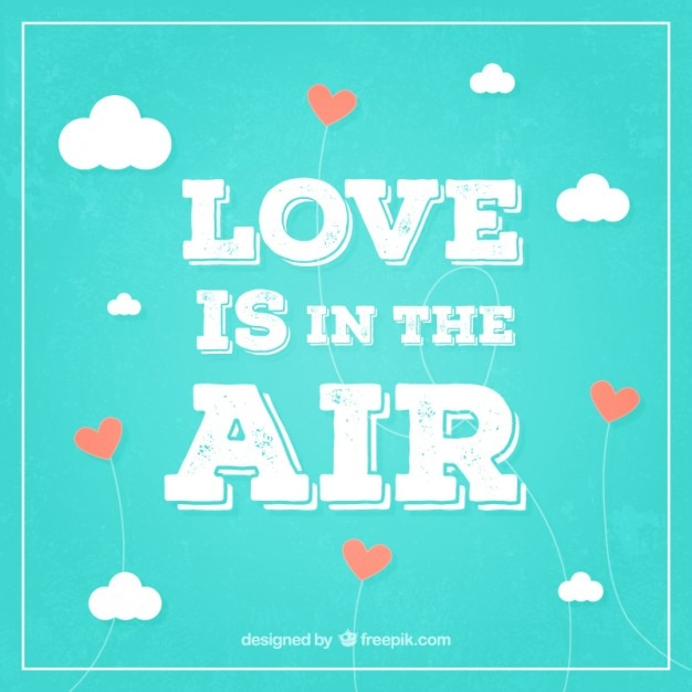 Love Is In The Air Background In Retro Style Vector Free