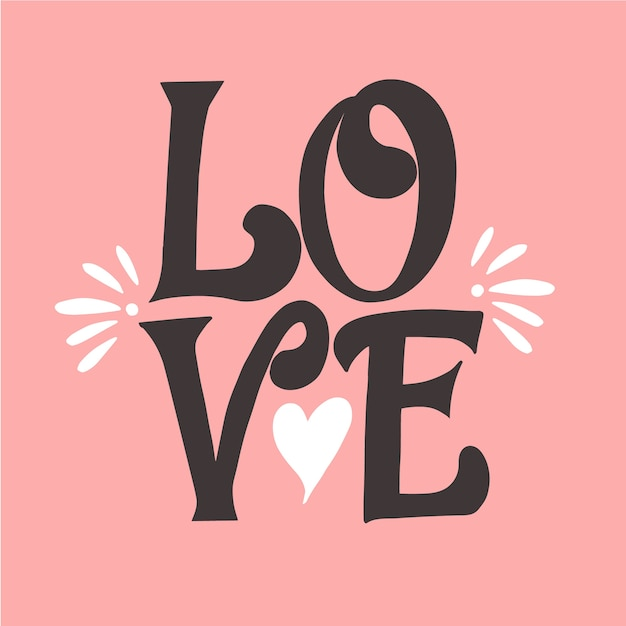 Download Love lettering and a cute shape of heart Vector | Free ...