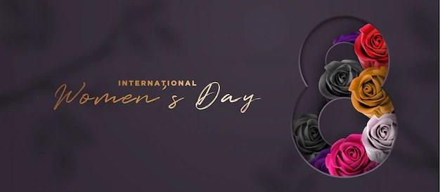Luxury black and gold women's day 3d banner Premium Vector