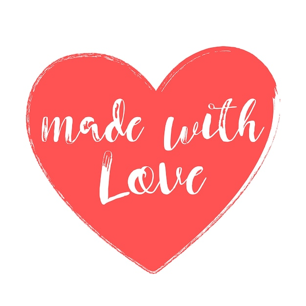 Download Made with love handwritten style heart vector illustration ...