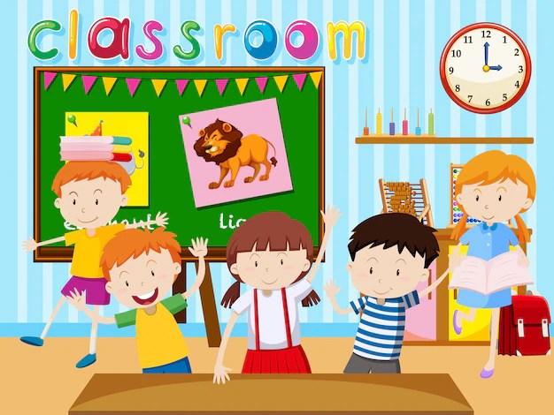 Many Children Study In Classroom Illustration Vector