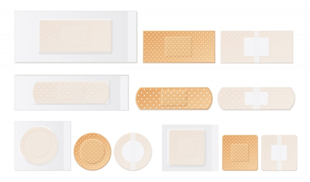 Medical plasters perforated realistic set Free Vector