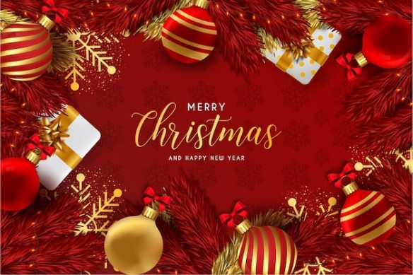 Merry christmas and happy new year background red with realistic christmas elements Free Vector