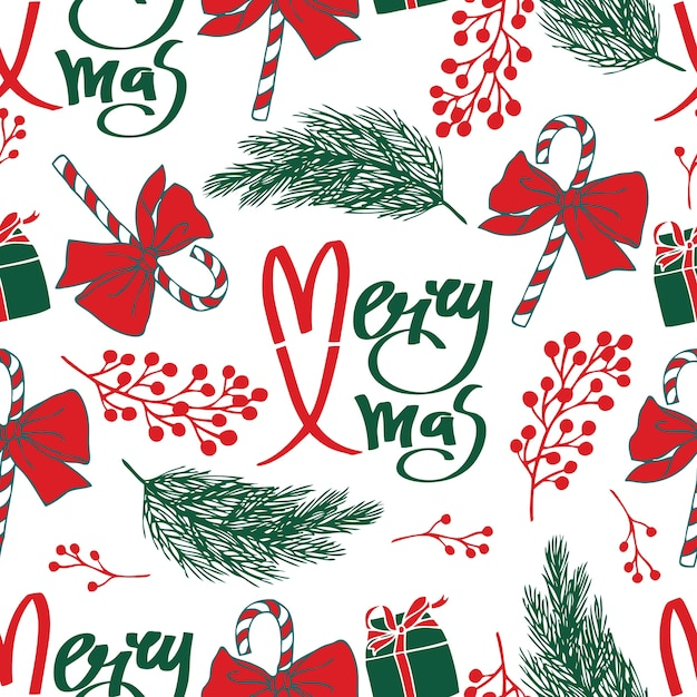 Merry Xmas Seamless Pattern Vector Free Download