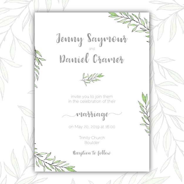 Minimalist Green And White Wedding Invitation Free Vector