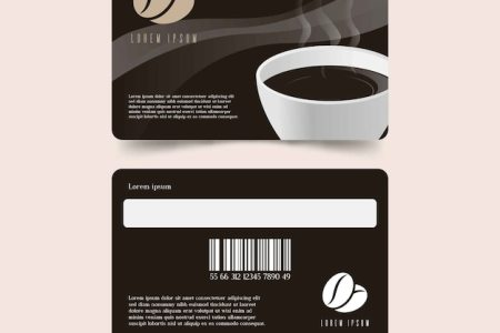 Modern coffee shop loyalty card template Vector   Free Download Modern coffee shop loyalty card template Free Vector