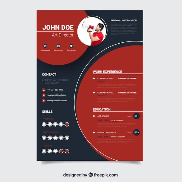 Modern red and black resume template Free Vector