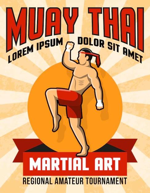 free vector muay thai martial art poster