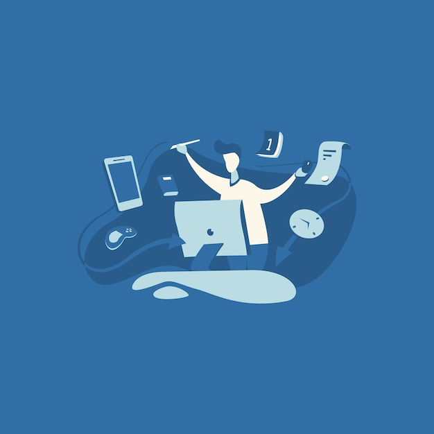 Multi tasking work illustration