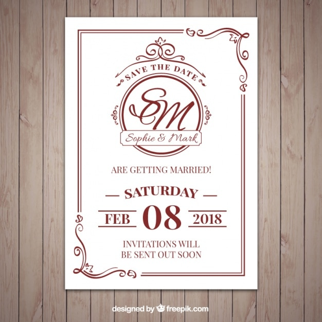Nice Clic Style Wedding Invitation Free Vector