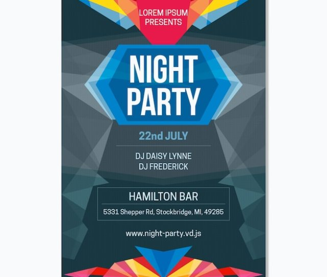 Night Party Poster With Geometry Free Vector