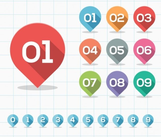 Number Markers Collection Free Vector