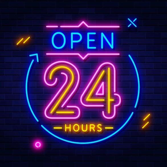 Premium Vector   Open 24 hours neon sign