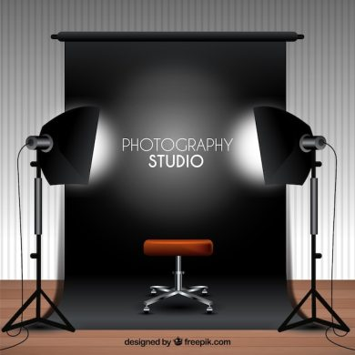 Photography studio with black background Vector   Free Download Photography studio with black background Free Vector
