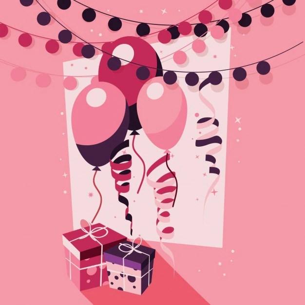free vector pink birthday background