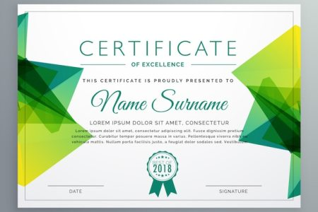 Polygonal green achievement certificate template Vector   Free Download Polygonal green achievement certificate template Free Vector