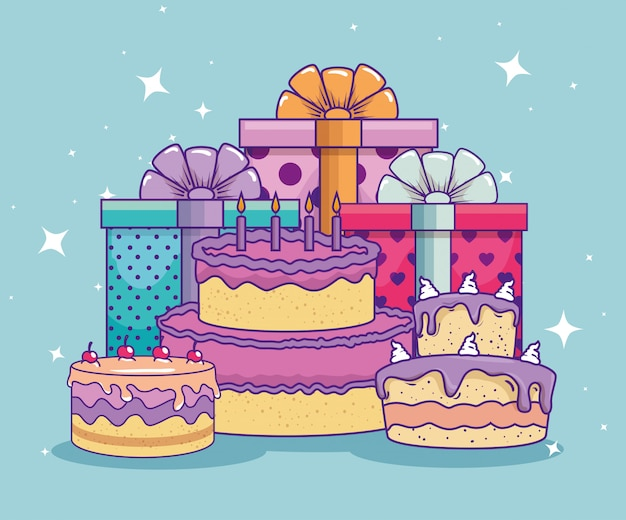 Free Vector Presents Gifts With Ribbon Bow And Cake To Birthday