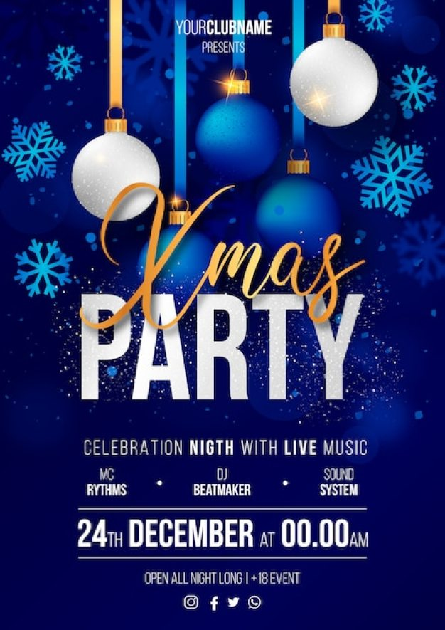 Realistic Christmas Party Poster Ready to Print Free Vector