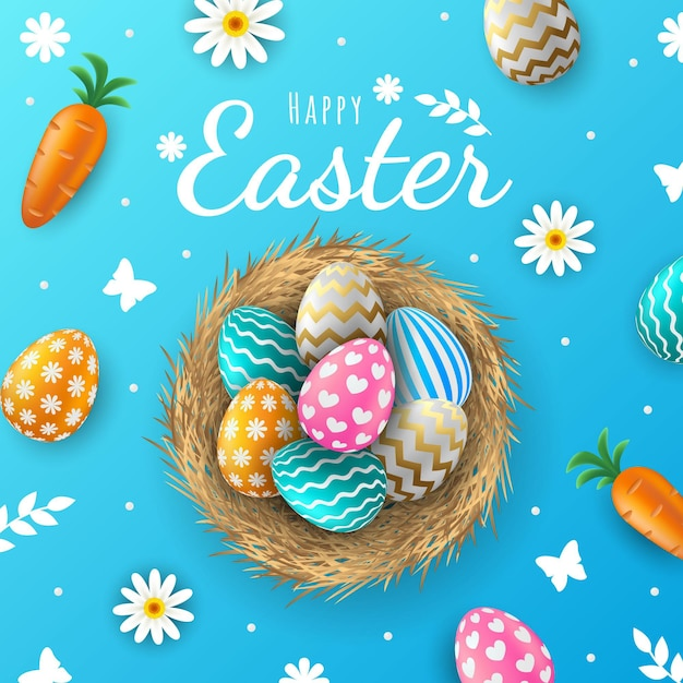 Realistic easter background Free Vector