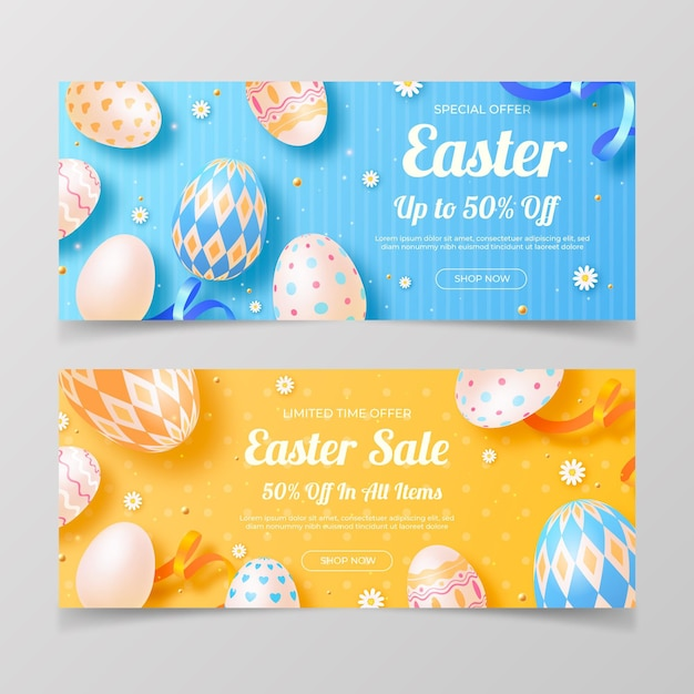 Realistic easter sale banners set Free Vector