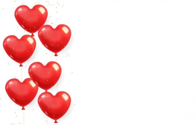 Download Realistic heart balloons and gold confetti, red isolated ...