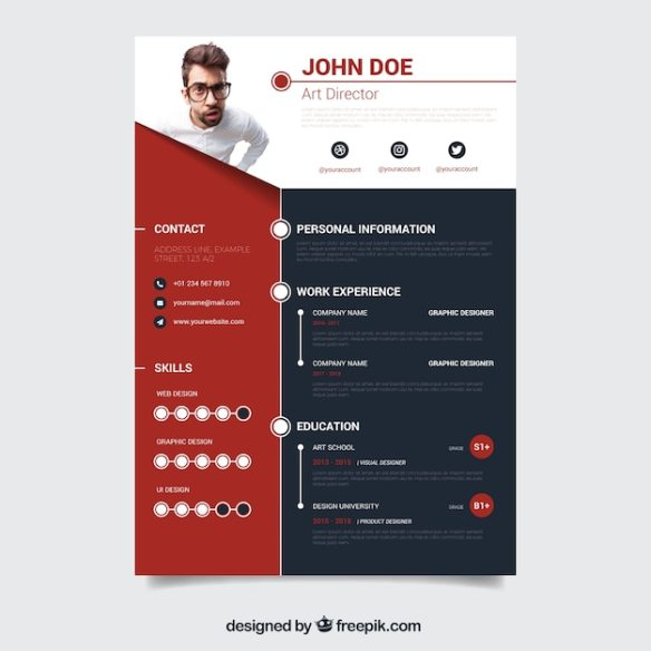 Red and dark cv template Free Vector