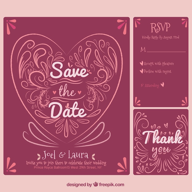 Red Wedding Invitation Template Free Vector