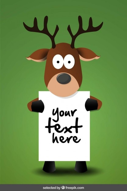 Reindeer Holding A Poster Template Vector Free Download